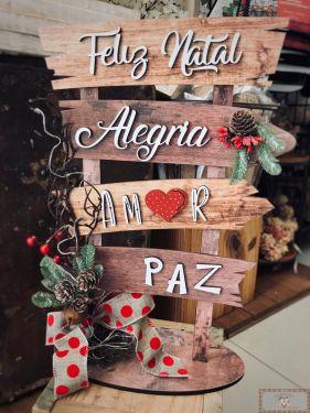 PLACAS DECORATIVAS DE NATAL - AMOR, PAZ, ALEGRIA!