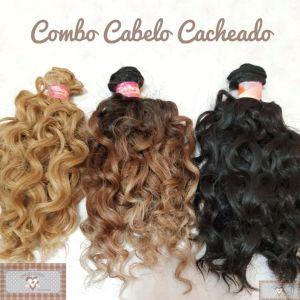 COMBO  CABELO SINTÉTICO CACHEADO CURTO - 3 CORES