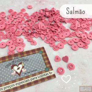 ❤ SALMÃO - BOTÃO DE PRESSÃO PLÁSTICO RITAS CORAÇÃO - 50PC (10MM)