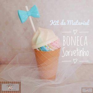 BONECA SORVETINHO DOCE - KIT DE MATERIAL LAÇO AZUL (SEM PROJETO)