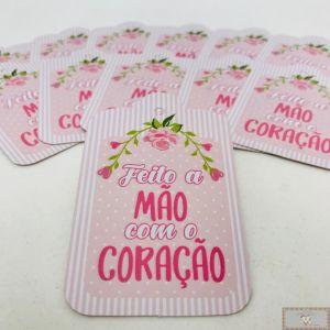 TAG DE PRESENTE - FEITO A MÃO COM O CORAÇÃO - ROSA -12UN