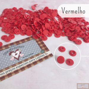 VERMELHO - BOTÃO DE PRESSÃO PLÁSTICO RITAS REDONDO - 50PC (10MM)