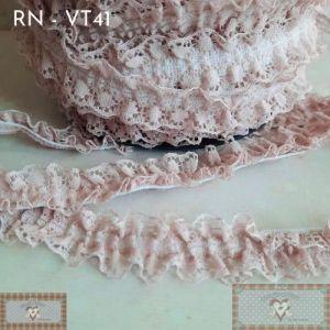RN - VT41 - RENDA FRUFRU  ROSÊ ANTIGO (L:2CM) - 1MT