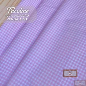 TECIDO TRICOLINE 0,50 MT - XADREZ ROSA