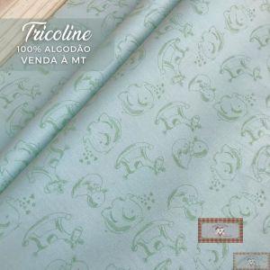 TECIDO TRICOLINE 0,50 MT - BICHINHOS BABY VERDE