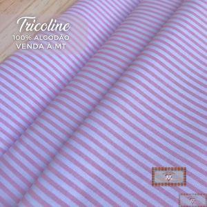 TECIDO TRICOLINE 0,50 MT - LISTRAS ROSA