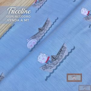 TECIDO TRICOLINE 0,50 MT - MENINO NAVEGANTE