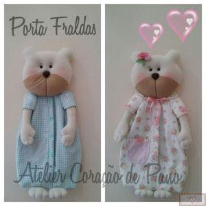 Projeto  Digital - Urso e Ursa Porta Fraldas
