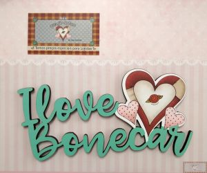 PLACA DECORATIVA - I LOVE BONECAR