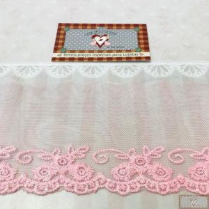 RN130 - RENDA DE TULE CANDY COLORS ROSA (LARGURA - 9cm)
